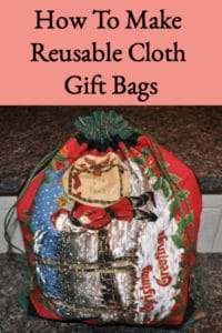 Easy Sew Green Gift Bags or Reusable Cloth Gift Bags