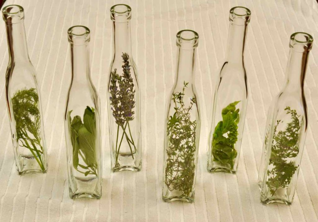 Bruised Herbs Inserted in Bottles