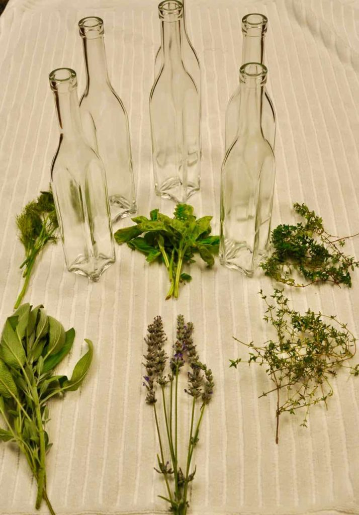 Herbs and Bottles for Herbal Vinegar