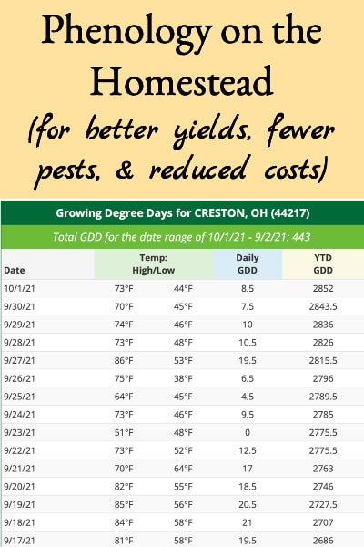 phenology for the homestead
